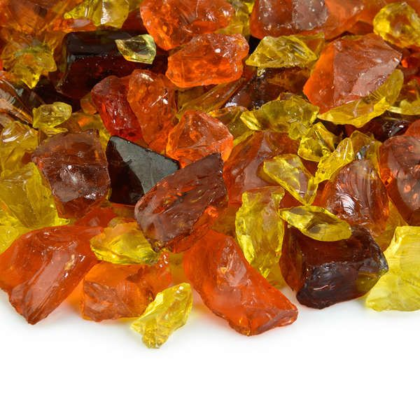 Our Golden Harvest blend is a radiant combination of orange, yellow and brown crushed fire glass for indoor and outdoor gas or propane fire pits. These three fireplace glass rock colors complement each other and have been pre-mixed for your convenience, ready to provide a brilliant, eye-catching fire feature in your home or backyard. Imagine the flames dancing above these exquisite crystals in the evening as your friends and family gather around the fire.