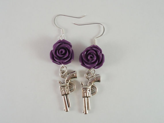 Purple Gun and Rose Earrings by ShooterChic on Etsy