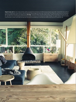 handsome, organic & mod living roomCozy Living Room, Living Rooms, Beach House, Fireplaces, Design Interiors, Black White, Dark Ceilings, Lounges Room, Wood Stoves