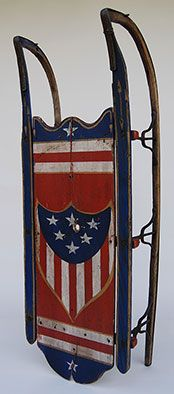 Patriotic Americana Centennial Original Paint Decorated Vermant Red White and Blue Antque 19th Century Sled