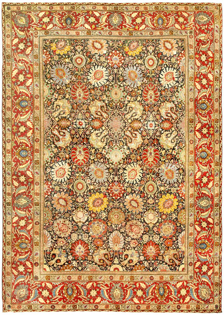 Antique Rugs NYC, Antique Persian Rug Carpet With Floral Ornaments.  Interior Living Room Decor
