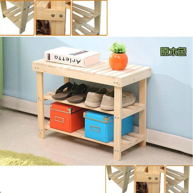 50 CM natureza cor pinho maciço sapatos de madeira Rack de prateleira de sapatos de armazenamento de mudança de banco verde saudável(China (Mainland))