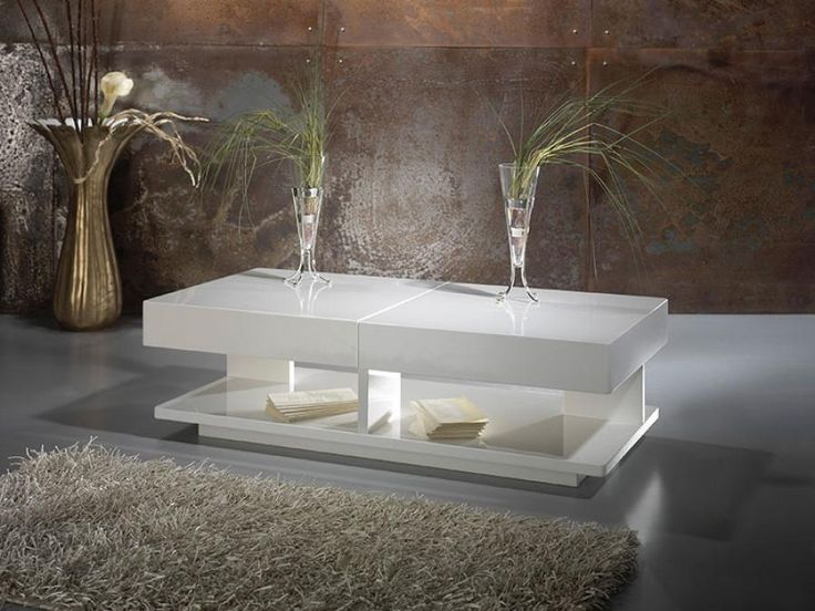 Contemporary High Gloss White Or Anthracite Robin Coffee Table With Hidden  Storage