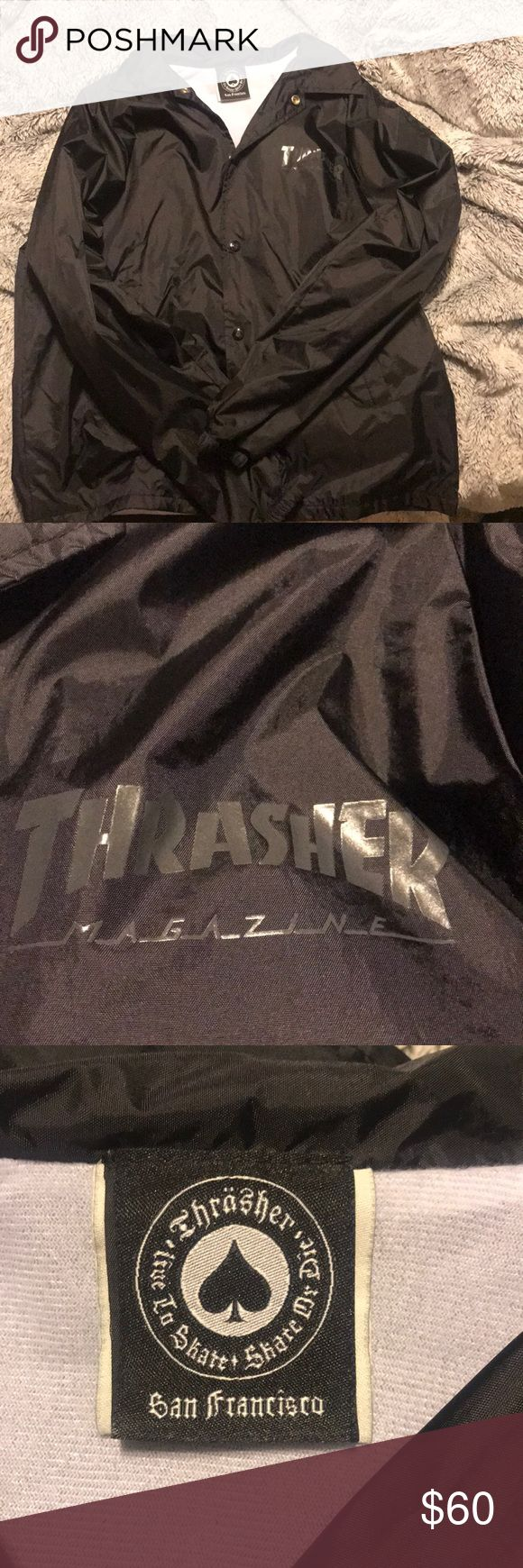 "Thrasher skate and destroy snap up windbreaker Thrasher unisex snap up ""skate and destroy"" windbreaker, very trendy and willing to work with price Jackets & Coats Puffers"