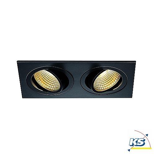 LED Deckeneinbaustrahler NEW TRIA 2 DL SQUARE SET, COB LED, 2700K, 38°, inkl. Treiber, Clipfedern, schwarz