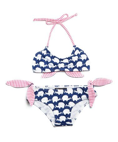 Now, this is acceptable bikini. (pushing it imho) for a toddler. Very cute. | girls bathing suit/swimsuit | Love this Navy Elephant Bikini - Toddler & Girls on #zulily! #zulilyfinds | LFF Designs | www.facebook.com/LFFdesigns