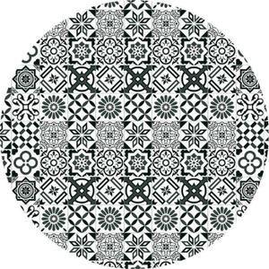 Tapis rond motifs carreaux de ciment noir diam. 90cm TOODOO Diam, 90 cm Noir
