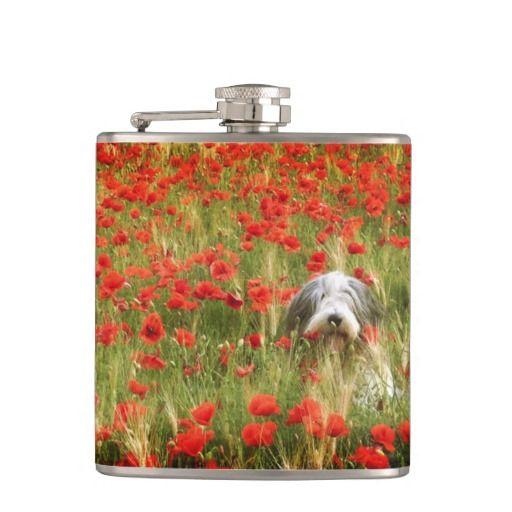 Vinyl Wrapped Flask, 6 oz. Bearded collie in poppy field