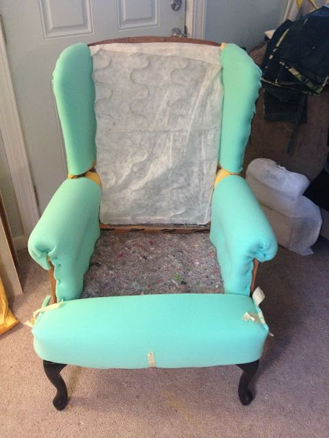 make bake & love: Re-Upholstering a Wing Back Chair, Part