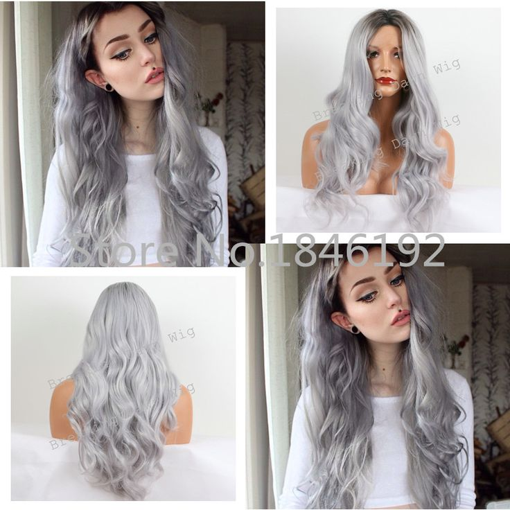 Christmas Ombre Silver Grey Wave Synthetic Lace Front Wig Glueless Long Natural Black/ Gray Heat Resistant Hair Wigs For Women