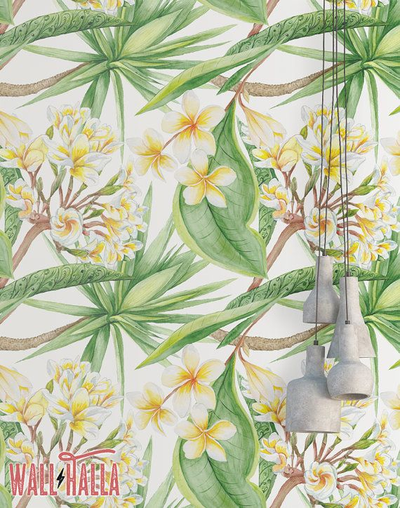 Vanilla Leaves and Blossom Wallpaper  Removable by WallHalla