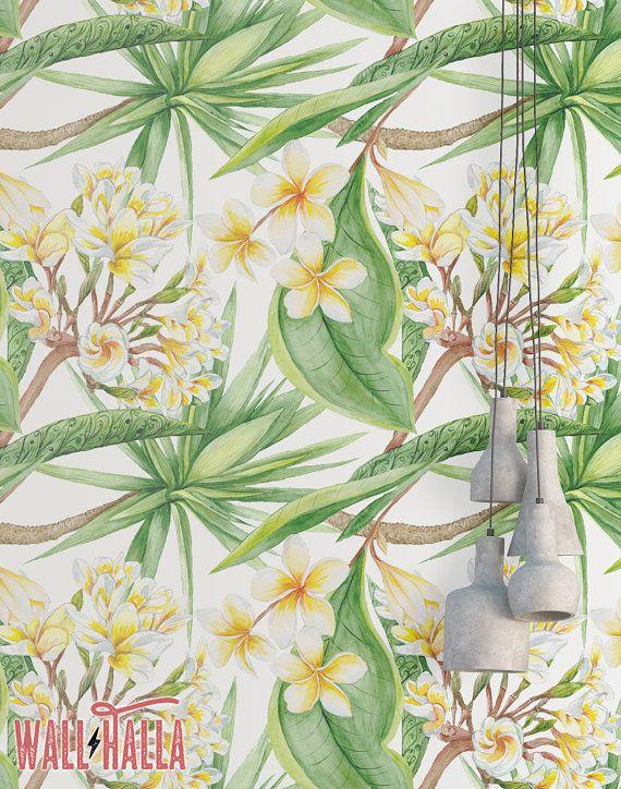 Foglie di vaniglia e fiore carta da parati - carta da parati rimovibile - foglie gialle Wallpaper - stampa floreale - tropicale buccia e bastone Wallpaper