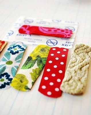 DIY fabric bandaids for kids. Ok, and I would totally wear these too! @Courtney Heath check these put!: Idea, For Kids, Diy Fabric, Easy Fabric Ribbon, Fabric Ribbon Bandaids, Fabrics, Fabric Bandaids, Fabric Band Aid