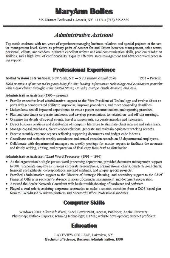 administrative assistant resume example - Resume Examples For Assistant Manager