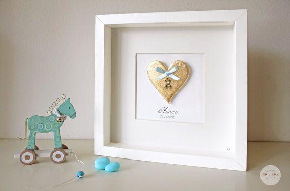 personalizzato Quadro Regalo Bambino - personalizzato regalo Nascita - Cuore con ciondolo orso - Scultura di carta 3D - foglia oro - cornice