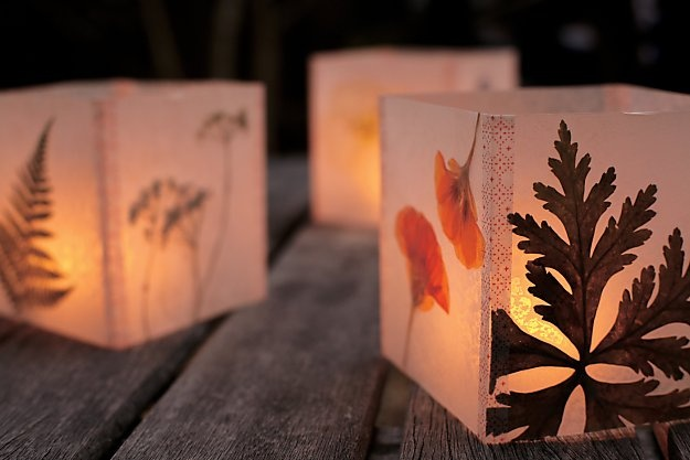 Luminaria by Kelly Wilkinson, author of Weekend Handmade: Place dried leaves and flowers between sheets of wax paper and iron to fuse the paper. Cut out 4 equal squares and fasten with washi paper. You could also do this on a HUGE scale for church!