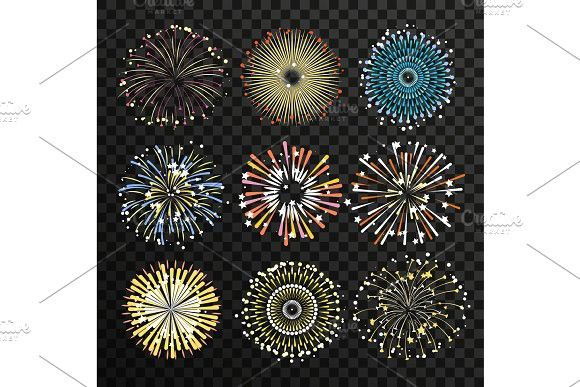 Star burst isolate on transparent background. Big fireworks vector set. Glitter