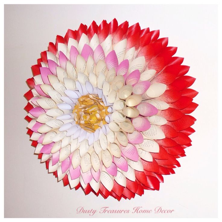 3D book pages dahlia flower paper wreath wall hangings