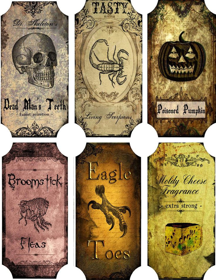 Vintage Inspired Halloween 6 Large Bottle Label Stickers Scrapbooking Crafts | eBay