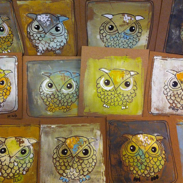 styrofoam owl print - she uses black marker to finish outlining the prints