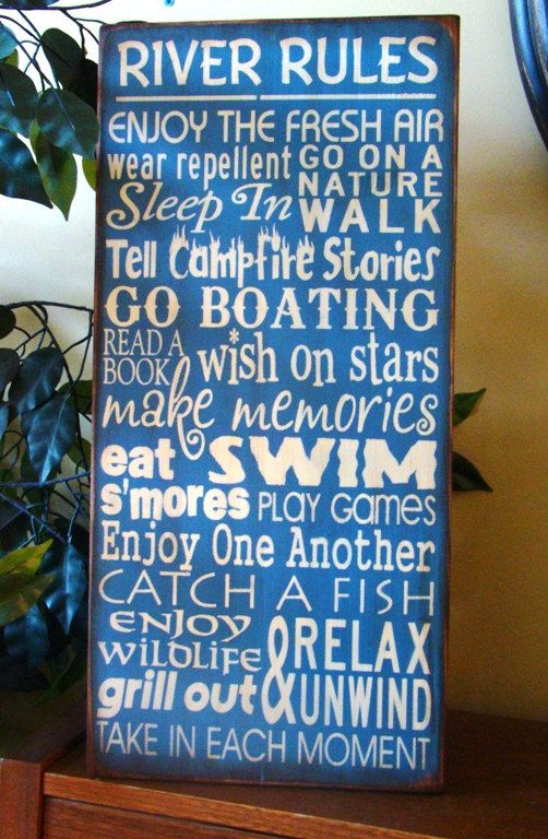 River Rules Subway/Typography Word Art Sign by kshopa on Etsy, $66.00
