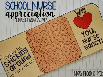 A cute card for any grade level, recounting ways that the school nurse has helped the student!Lindsay Flood (c) 2016For Single Classroom use ONLY!