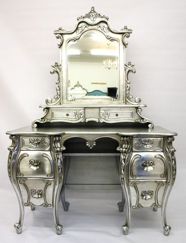 Silver French provincial vanity dressing table= where Cinderellas get dressed <3