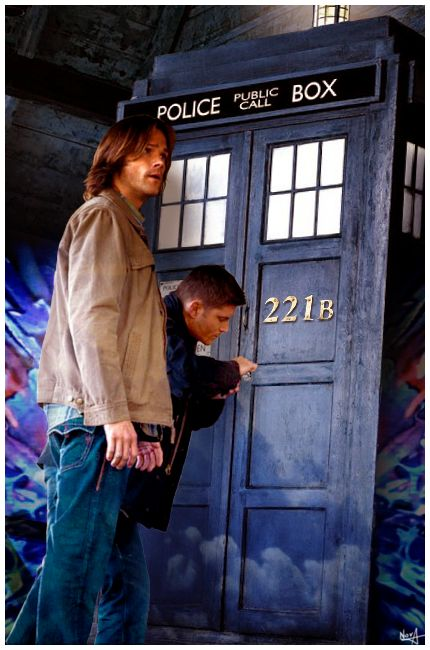 Dean and Sam trying to pick the TARDIS's lock, it'd be funny if the doors automatically opened up and Dean fell in ~DoctorWho ~Supernatural