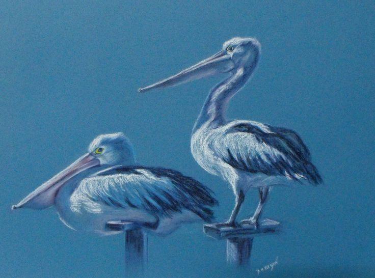 Balancing Act - Pastel by Denise Ellison - pelicans at lakes entrance Australia (SOLD)