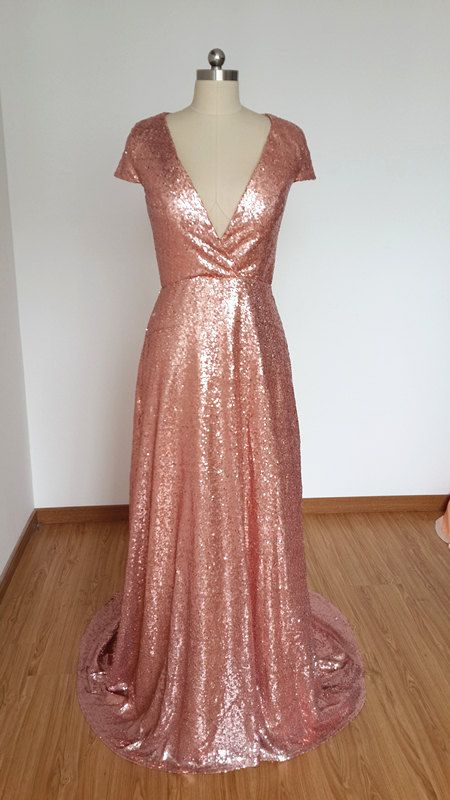 Sexy V Neck Cap Sleeves Rose Gold Sequin Long Prom Dress