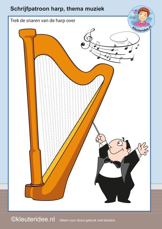 Schrijfpatroon harp voor kleuters, thema muziek, kleuteridee.nl, free printable.