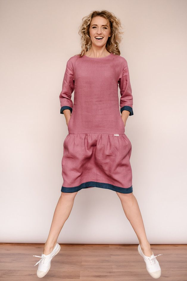 a788816fdb2 Linen drop waist dress (linen dress). -Tailor made dress. -Has 3 4 sleeves.  -Sleeves can be used in two ways  unfolded or folded. If you use folded  sleeves ...