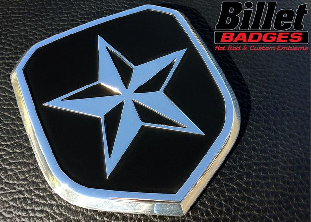"""2013+ Dodge Ram Grille """"Nautical Star"""" shield.  This one is polished with a black background color fill.  For more info visit www.billetbadges.com. #billetbadges #Dodge #truck #nautical #emblem #custom #madeinusa"""