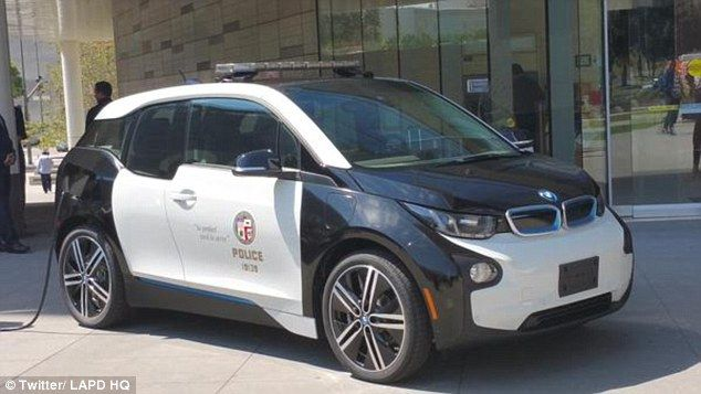 The Los Angeles police department unveiled it's latest police car - a tiny electric powered BMW i3