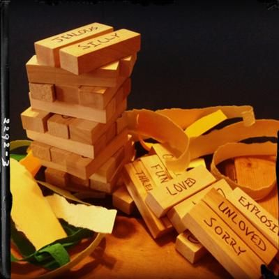 Emotional Towers: Play Therapy Game. Instead of writing words on the blocks, number each block. Then you can have different worksheets depending on your needs (one set of numbered words or questions for families; children; groups, etc). You'll have so many different uses for the same Jenga set! Possibilities are endless!