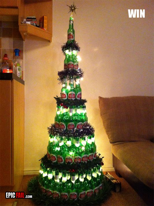 Funny christmas trees christmas tree made out of the for How to make a beer bottle christmas tree