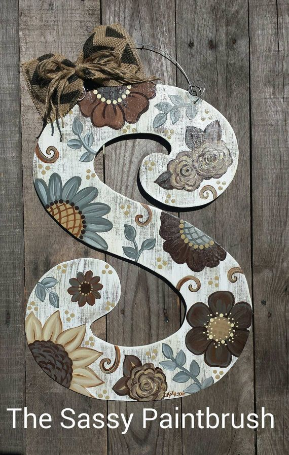 Check out this item in my Etsy shop https://www.etsy.com/listing/271120833/brown-tan-gray-floral-22-inch-letter