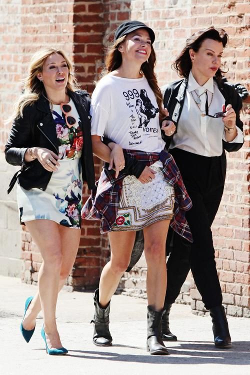 The fab three: Hilary Duff, Sutton Foster and Debi Mazar on the set of #YoungerTV in NYC. Series premieres March 2015 on TV Land. Visit us at www.youngertv.com. #YoungerTVParty and #Sponsored.
