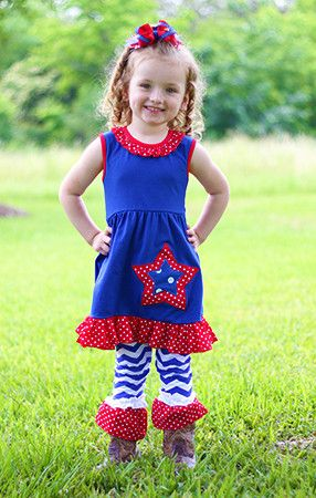 July 4th Star Tunic Top and Chevron Pants Set (Almost gone! 12-24m & 2-3t only!)
