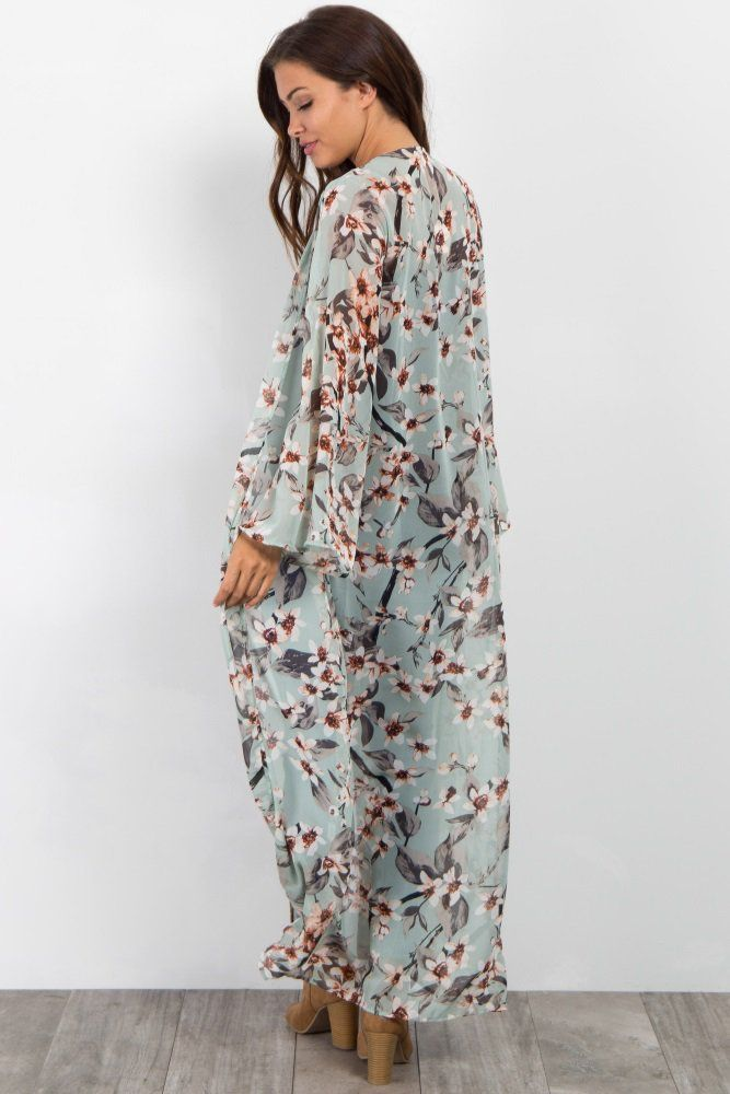 7a8ba263d6 Light Olive Floral Long Maternity Kimono in 2019