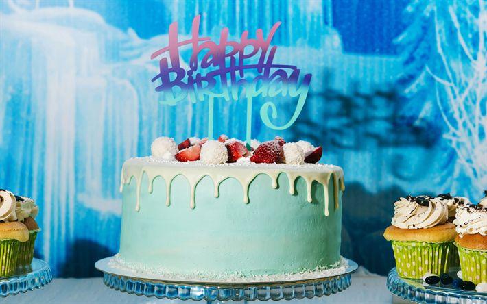 Télécharger fonds d'écran Joyeux anniversaire, bleu, gâteau d'anniversaire, les bougies, les fraises, d'anniversaire, de félicitations, de gâteaux