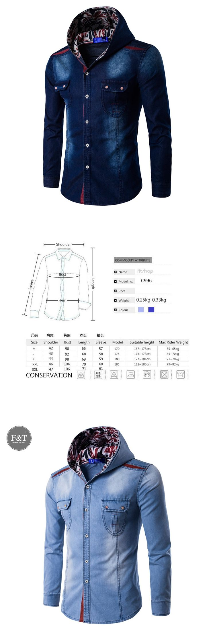 [Asian Size] 2016 Large Size Denim Shirt Men Cotton Brand Clothing Jeans Camisa Social Masculina Long Sleeve Blue Chemise Homme