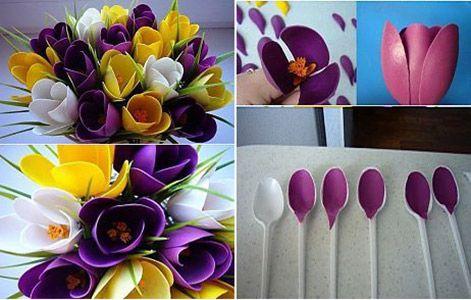 Plastik Kaşıklardan Çiçek Buketi Yapımı