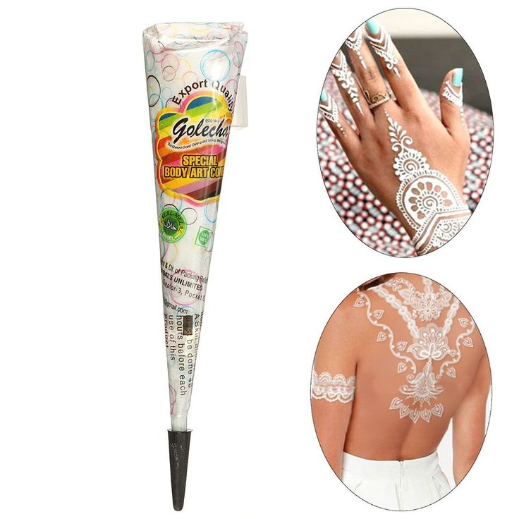 Item type: Natural Henna Paste ConeColor: WhiteNet Weight: App 30gSize: As Shown In Picture Package Included:1 X Henna Paste Cone How to apply: 1. Clean skin surface before applying2. Open cap & press