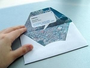カラー印刷したGoogleマップをオリジナル封筒にDIY