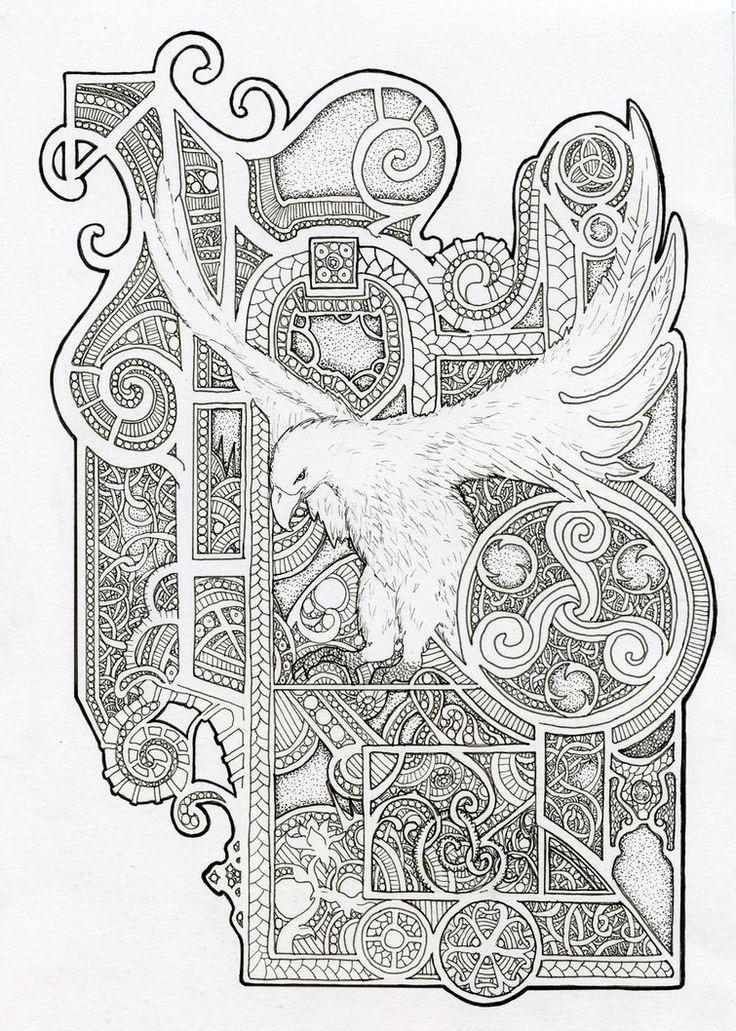 Bird design - Inspired by Book Of Kells by Scream-stay-night on @DeviantArt