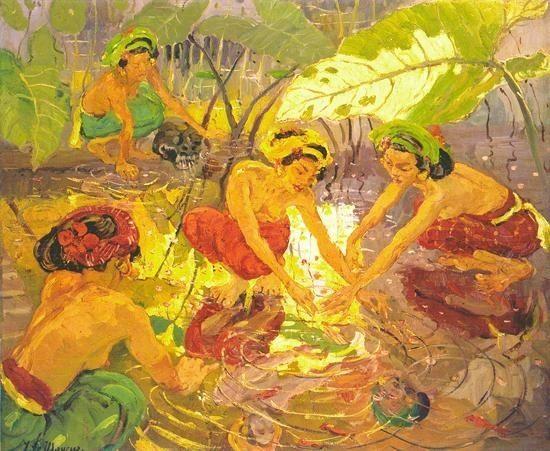 Adrien Jean Le Mayeur de Merprès - At the Lotus Pond