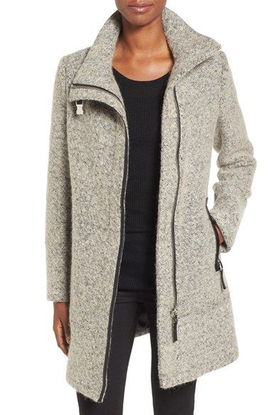 Free shipping and returns on Calvin Klein Wool Blend Bouclé Walking Jacket (Regular & Petite) at Nordstrom.com. Clean, modern lines look sophisticated on a cozy bouclé jacket styled with a belted stand collar and piped faux leather trim at the off-center closure and side zip pockets.