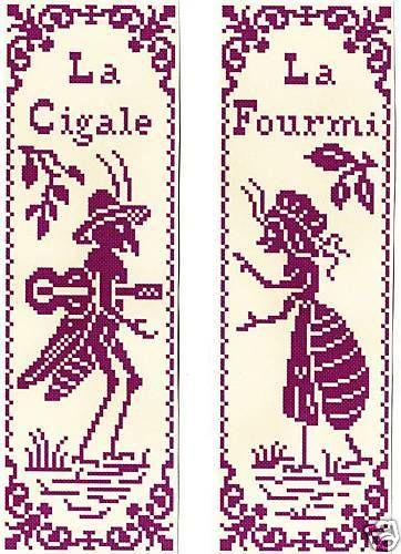 Grille pt de croix 2 MARQUE-PAGE - La CIGALE & la FOURMI - réf : 6504-1