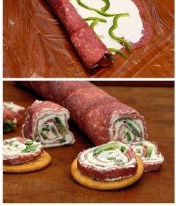 Aperitivo de salame com cream cheese